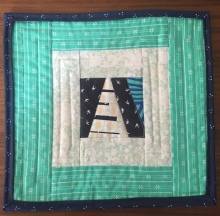 Mint green A Font mini quilt