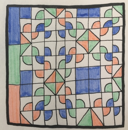 Drawing of a quilt pattern