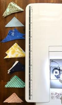 Tiny piles of triangle scraps.