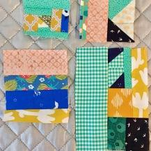 Piecing quilt blocks with fabric scraps